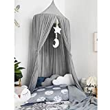 Bed Canopy for Children, Dyna-Living Cotton Mosquito Net Round Dome Nursery Net Hanging Curtain Kids Princess Indoor Outdoor Play Reading Tents Bedroom Bed Decoration Insect Net Protection (Grey)
