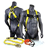 KwikSafety (Charlotte, NC) TORNADO COMBO | 1 D-Ring Full Body Safety Harness, 6' Lanyard, Tool Lanyard, ANSI OSHA PPE Fall Protection Arrest Restraint Equipment Universal Construction Roofing Bucket
