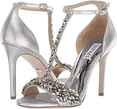 Badgley Mischka Women's Veil II Heeled Sandal, Silver/Metallic Suede, 5 M US