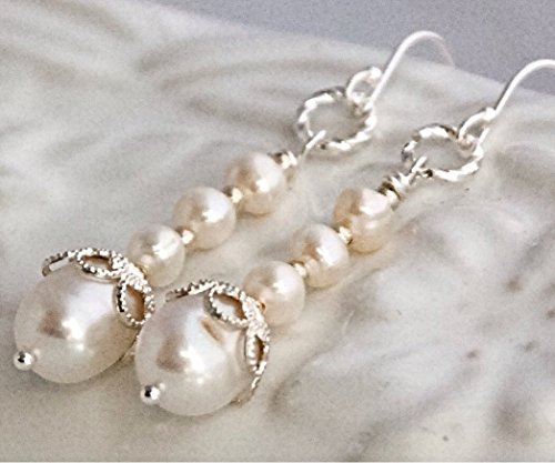 Sterling Silver Cream White Pearl Drop Dangle Earrings Freshwater Cultured Wedding Bridal Jewelry