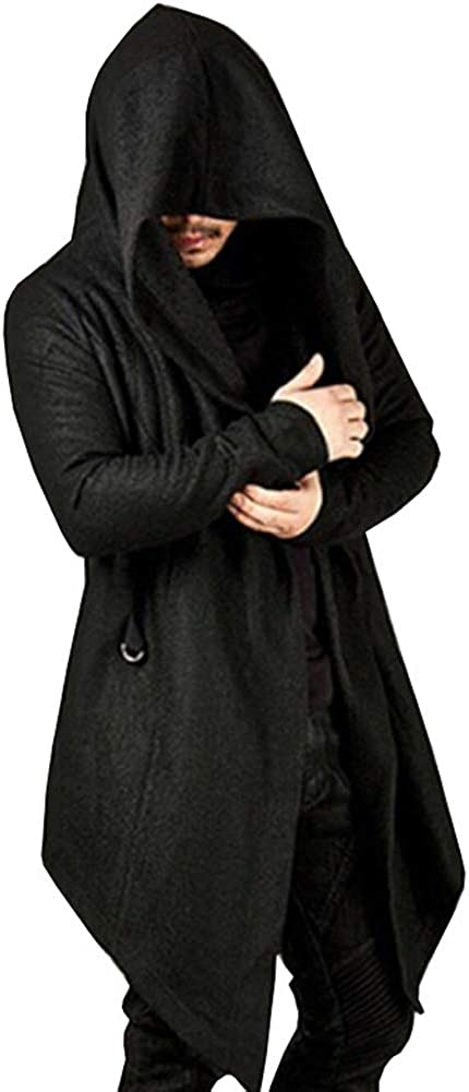 Autumn Loose Fit Sweater Jacket Outwear Irregular Hem Open Front Trench Coat FAXIKIO Mens Long Sleeve Hooded Cardigan