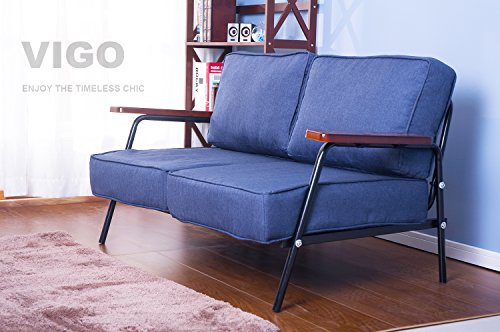 Merax 53 Inch Love Seat Living Room Sofa Futon Sofa In Blue