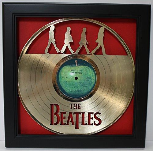 Framed Laser - Beatles Abbey Road Framed Laser Cut Gold Plated Vinyl Record in Shadowbox Wallart