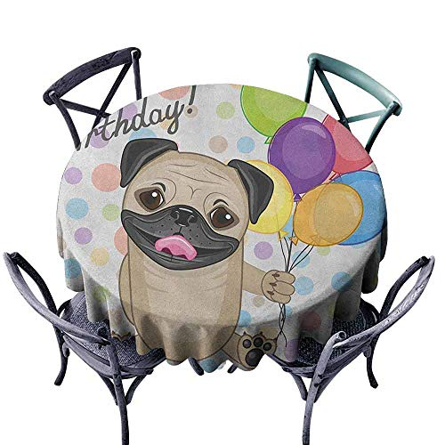 ScottDecor Pattern Round Tablecloth Dinning Tabletop Decoration Kids Birthday,Animal Cute Dog Smiling Pug with Party Balloons Greeting Card Inspired Design, Multicolor Diameter 36