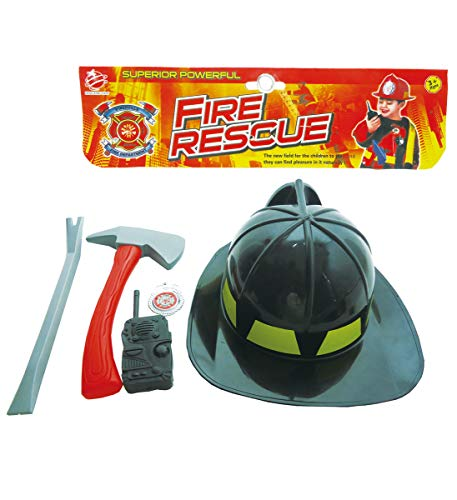 Mozlly Fire Fighter Fireman Rescue Complete Chief Costume Accessories Tools Kit, Includes Helmet Hat Toy Axe Pry Bar Badge & More - Kids Halloween Dress Up for Boys & Girls, Colors May Vary (5pc Set)