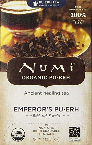 Numi Organic Tea Emperor's Puerh, Full Leaf Black Tea, 16 Count ( Case of 6 )