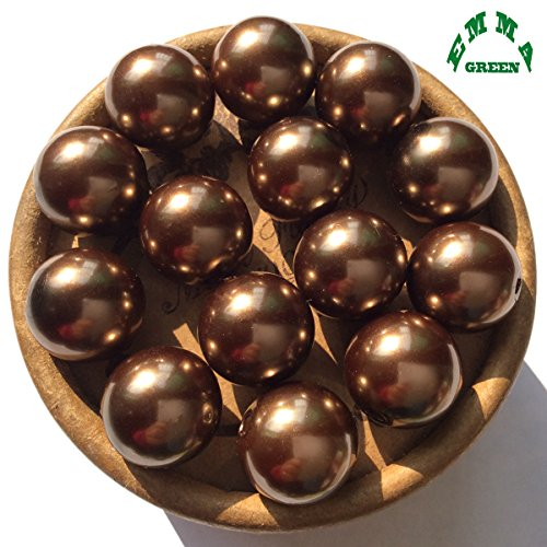 10mm 100pcs Dark Brown Imitation Pearl Round Loose Beads for Jewelry Making or Vase Filler Suppliers (Brown Imitation Pearl)