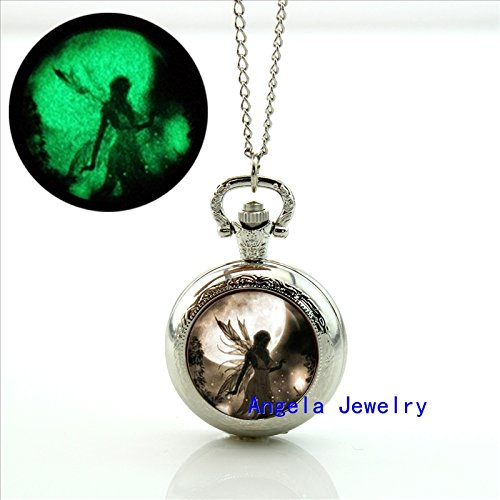 Moonlight Photo (Pretty Lee Fashion Glow in The Dark Fairy Moonlight Pocket Watch Glass Dome Jewelry Fairy Moonlight Photo Locket Necklace)