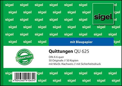 Sigel QU625 Quittungsblock A6 quer, 2x50 Blatt, 1 Stück