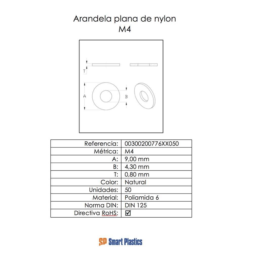 Arandelas planas de nylon m/étrica M10 50 unidades
