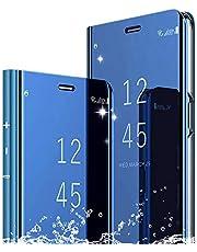 DAYNEW För XiaoMi Max 3 fodralskydd, spegel smart flip fodral stativ funktion plätering ultratunn passform smink praktiskt skyddande fodral för XiaoMi Mi Max 3-blå