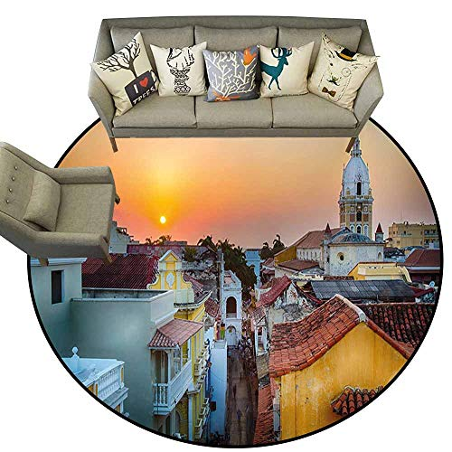 "Anti Slip Round Doormat Indoor,Sunset,View Over The Rooftops of The Old City Cartagena Cathedral Colombian Coast Picture,Multicolor,Floor Rug Shoe Scraper Door Mat Rug 6"" feet"