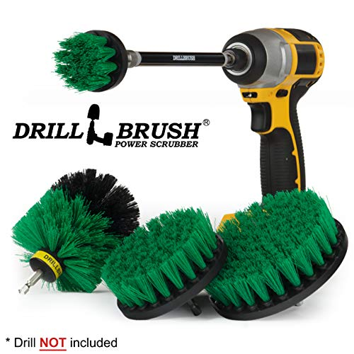 Cleaning Supplies – Drill Brush Power Scrubber Set with Extension – Dish Brush – Spin Brush Kit for Tile, Counter-Tops, Stove, Oven, Sink, Trash Can, Floors – Grout Cleaner – Cast Iron, Pots and Pans