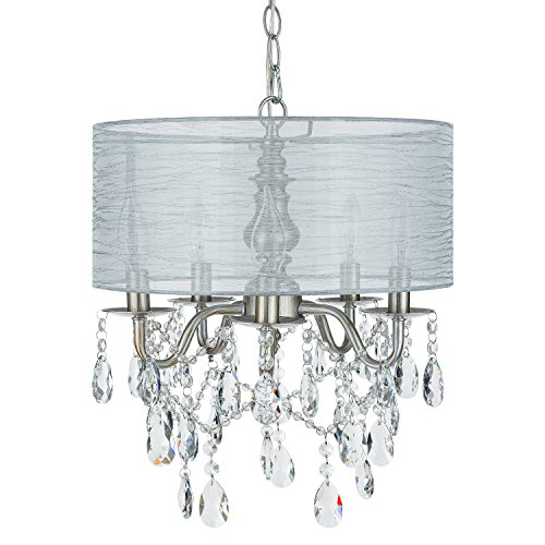 Luna Silver 5 Light Crystal Chandelier with Drum Shade, Glass Beaded Swag Plug-In Pendant Wrought Iron Cylinder Shaded Ceiling Lighting Fixture Lamp