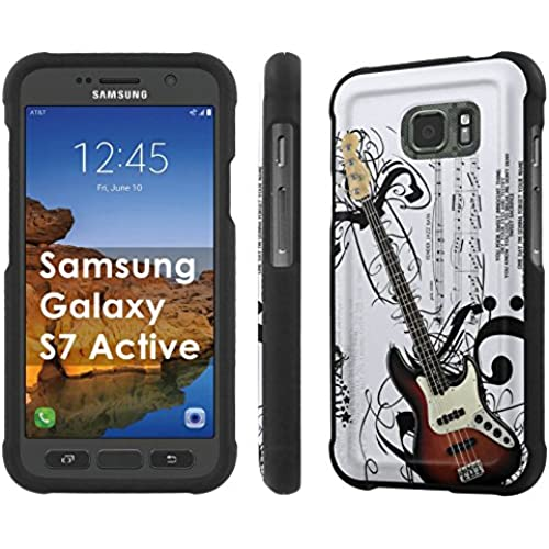 AT&T [Galaxy S7 Active] [5.1 Screen] Armor Case [NakedShield] [Black] Total Armor Protection [Shell Snap] + [Screen Protector] Phone Case - [Music Guitar] for Sales