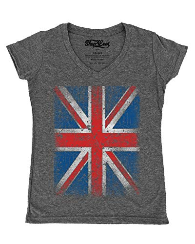 Shop4Ever Vintage Union Jack British Flag Women's V-Neck T-Shirt United Kingdom Flag Shirts Small Heather Charcoal13315