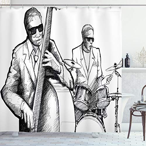 Ambesonne Jazz Music Shower Curtain, Illustration of a Jazz Band Musicians Playing Drum Music Concert Performance, Cloth Fabric Bathroom Decor Set with Hooks, 70