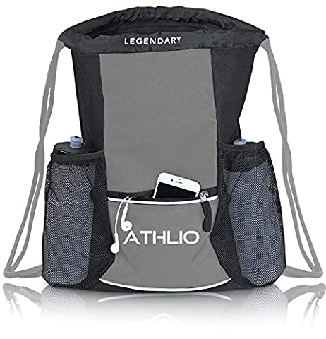 Legendary Drawstring Gym Bag - Waterproof | For Sports & Workout Gear | XL Capacity | Heavy-Duty Sackpack Backpack - Seattle Seahawks Disc