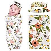 Newborn Baby Swaddle Blanket and Headband Value Set,Receiving Blankets, Orange Daisy