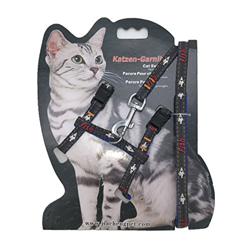 Adjustable Cat/Ferret Walking Harness Nylon Strap Collar with Leash, Cat Leash and Harness Set Adjustable Escape Proof