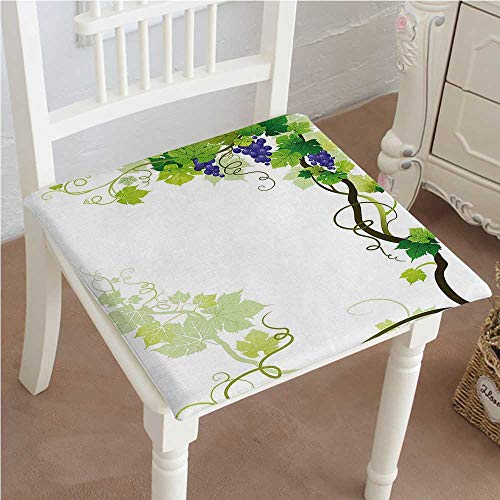 Mikihome Chair Seat Pads Cushions Vineyard Frame with Swirled Fresh Cluster Garden Plant Square Car and Chair Cushion/Pad with Ties, Soft, for Indoors Or Outdoor (Vineyard Wicker Furniture)
