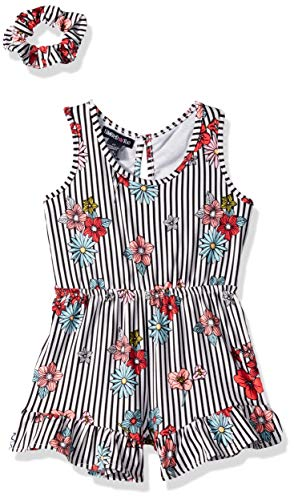 - Limited Too Girls' Little Printed Fashion Romper and Hair Accessory Set, mesh Back Stripe Multi, 5