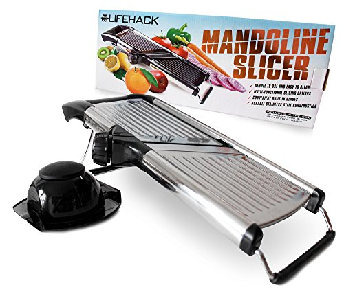 Mandoline Slicer By Mrlifehack - Stainless Steel Food Slicer With Adjustable Julienne Blade System - Best Fruit & Vegetable Cutter