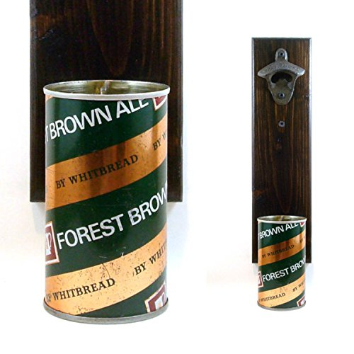 Wall Mounted Bottle Opener With A Whitbread Forest Brown Ale British Beer Can Cap - Whitbread Ale