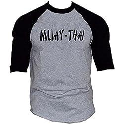 Men's Muay Thai Fighter V442 Gray/Black Raglan Baseball T-Shirt Large Gray/Black