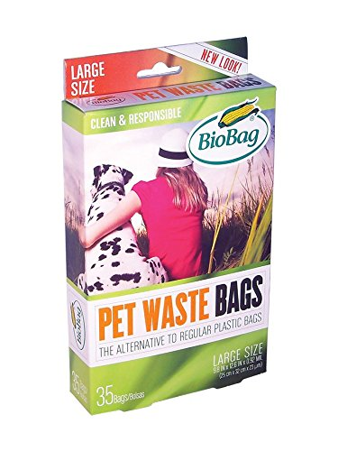 BioBag Dog Waste Bags, Large Sized, 35-Count Boxes (Pack of 4) by BioBag