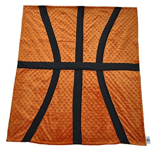 Cozy Wozy Basketball Themed Minky Baby Blanket, Rust Orange, 30