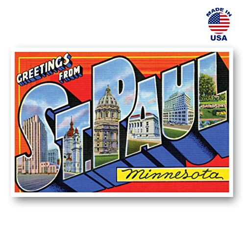 GREETINGS FROM ST. PAUL, MN vintage reprint postcard set of 20 identical postcards. Large Letter St. Paul, Minnesota city name post card pack (ca. 1930's-1940's). Made in USA. (Paul Printed)
