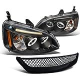 Honda Civic Dx Ex Black Led Halo Projector Headlights, Black Grille