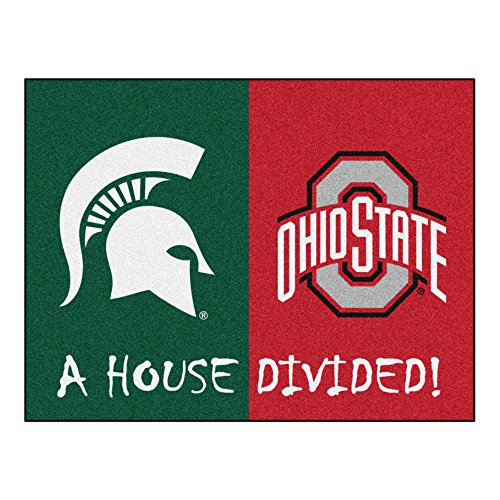 NCAA House Divided - Michigan State/Ohio State House Divided Non-Skid Mat Rectangular Area Rug