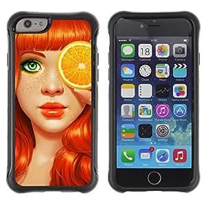Suave TPU Caso Carcasa de Caucho Funda para Apple Iphone 6 / Ginger Orange Art Eyes / STRONG