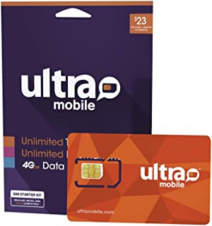 $23 Ultra Mobile Phone Plan | Unlimited Talk & Text + 2GB 4G LTE Data (3-in-1 GSM SIM Card)