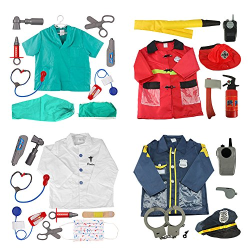 TOPTIE 4 Sets Kids' Role Play Costume Doctor Surgeon Police Officer Fire Chief -