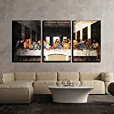 """wall26 - 3 Piece Canvas Wall Art - Last Supper Leonardo Da Vinci Milan - Modern Home Decor Stretched and Framed Ready to Hang - 24""""x36""""x3 Panels"""
