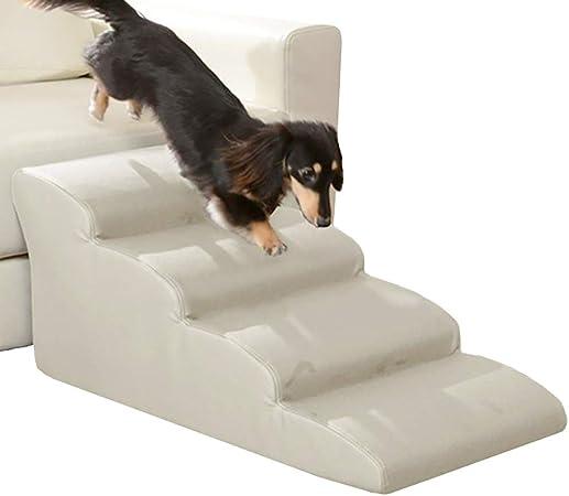 Escalera de Mascota Extra Ancho Rampa para Perros para Cama Alta Y Sofá Alto, 4 Escalones para Mascotas, Escaleras para Gatos Grandes, Perros, 35 D, Acolchado con Esponja, Carga De 200 Libras: