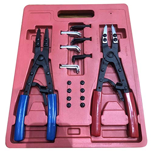 Aeanm Retaining Ring Pliers, Remover Installer or Fixed Tip Combination Internal/External Snap Ring Pliers Set, Automotive and Engine Repair Projects ()
