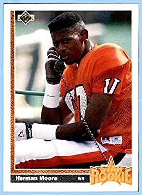 1991 Upper Deck #17 Herman Moore RC DETROIT LIONS ROOKIE VIRGINIA CAVALIERS