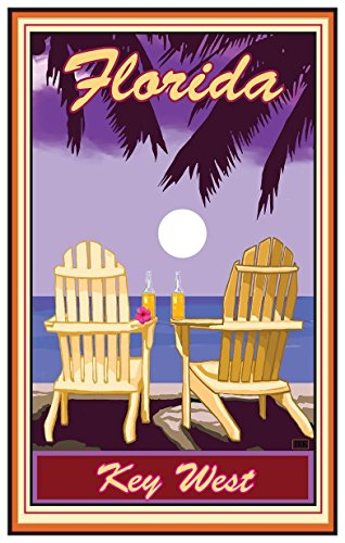 Key West Florida Adirondack Chairs Palms Corona Giclee Travel Art Poster by Artist Paul A. Lanquist (12 x 18 inch) Art Print for Bedroom, Family Room, Kitchen, Dorm Room or - Mall Florida Key West