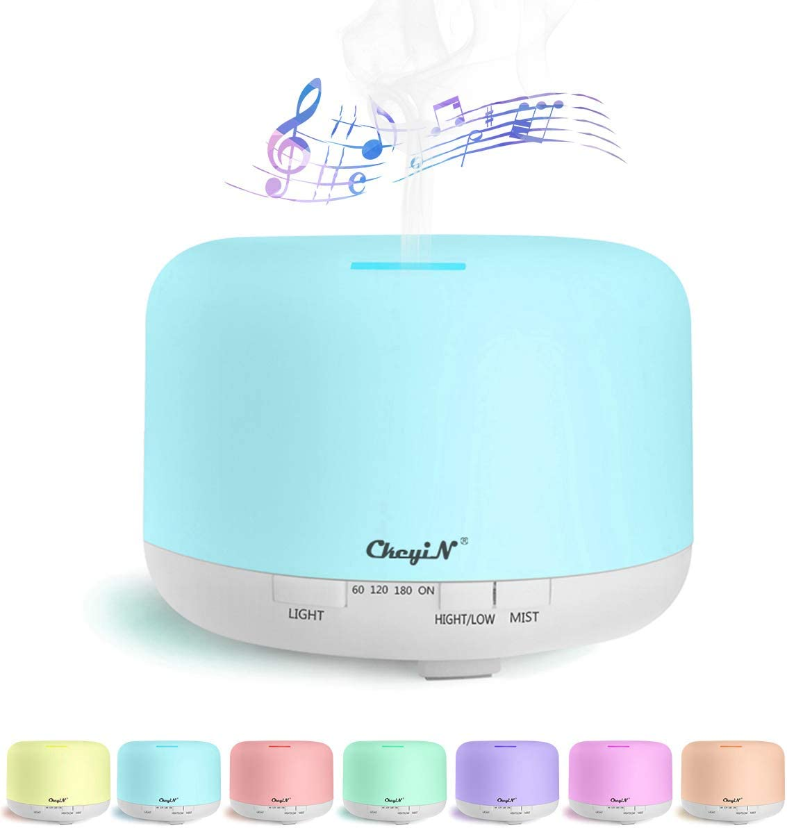 CkeyiN 800ml Large Essential Oil Diffuser, Cool Mist Humidifier Aromatherapy Diffuser with Bluetooth Speaker, Waterless Auto Shut-Off and 3 Timer Settings - for Yoga, Spa, Bedroom, Home, Office