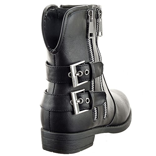 Zapatillas Botas textil Low Cremallera plantilla mujer Negro pierna 3 Botines Hebilla boots Moda de Tacón Sopily Media Talón CM ancho militares dqAwn