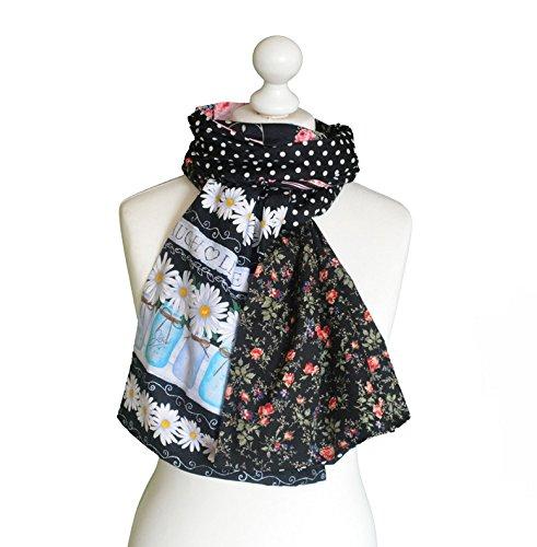 Echarpe  Foulard bohème chic   Chèche patchwork de cotons pièce unique 931048e2424
