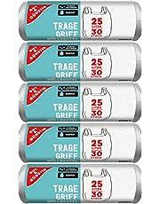 Gut & Günstig 150 vuilniszakken/vuilniszakken met draaggreep, 25 liter, 30 stuks per rol, scheurvast & vloeistofdicht, product & verpakking recyclebaar
