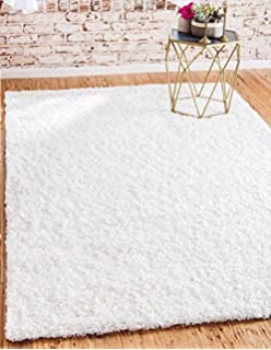 unique loom solid shag collection snow white 5 x 8 area rug 5u0027 x