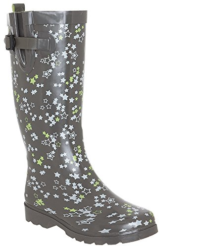 Capelli New York Shiny Star Clusters Printed Ladies Rubber Rain Boot Grey Combo 8
