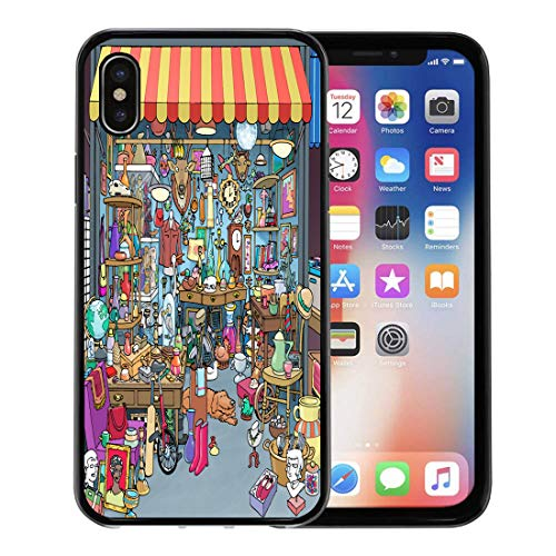 Semtomn Phone Case for Apple iPhone Xs case,Cartoon of Parisian Flea Market Antique Stall Stand is Crowded Many Different Collectibles Treasures for iPhone X Case,Rubber Border Protective Case,Black
