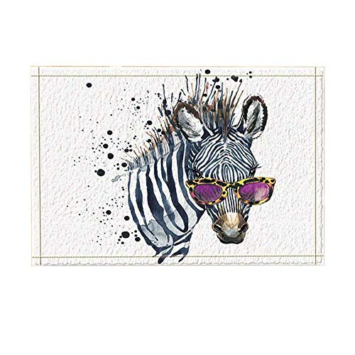 (Watercolor Comedic Animal Decor Funny Zebra with Sunglasses Bath Rugs Non-Slip Doormat Floor Entryways Indoor Front Door Mat Kids Bath Mat 15.7X23.6In Bathroom)